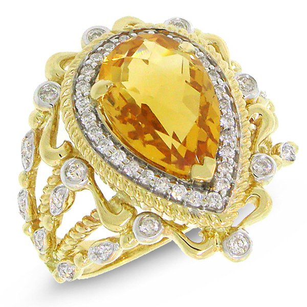 0.35ct Diamond & 2.95ct Citrine 14k Two-tone Gold Ring