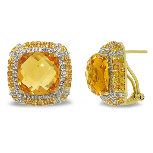0.62ct Diamond & 15.23ct Citrine & 1.92ct Yellow Sapphire 14k Yellow Gold Earrings