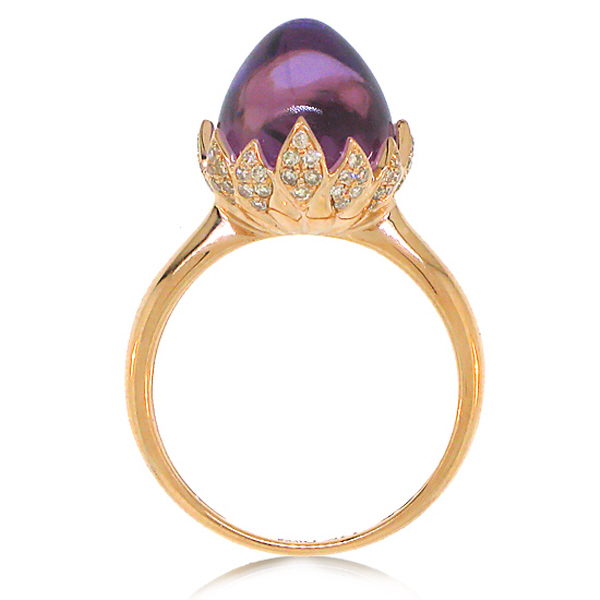 0.29ct Diamond & 7.69ct Amethyst 14k Rose Gold Ring