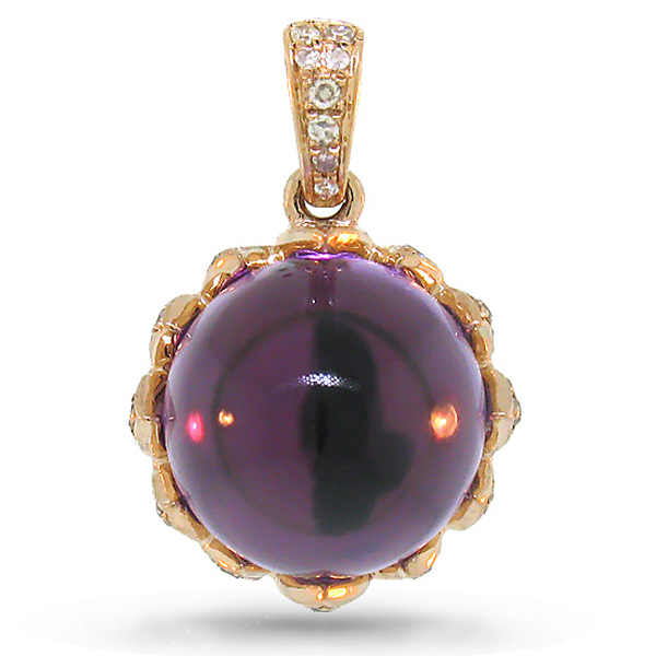 0.31ct Diamond & 7.82ct Amethyst 14k Rose Gold Pendant Necklaces
