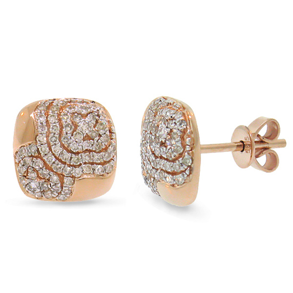 0.37ct 14k Rose Gold Diamond Pave Earrings