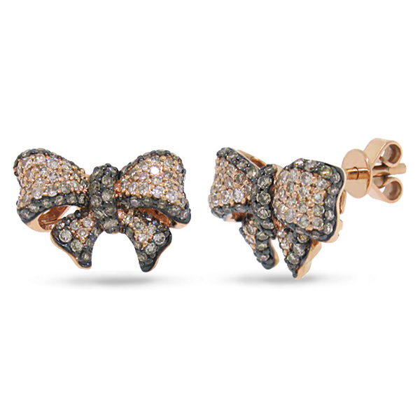 0.90ct 14k Rose Gold White & Champagne Diamond Ribbon Bow Earrings
