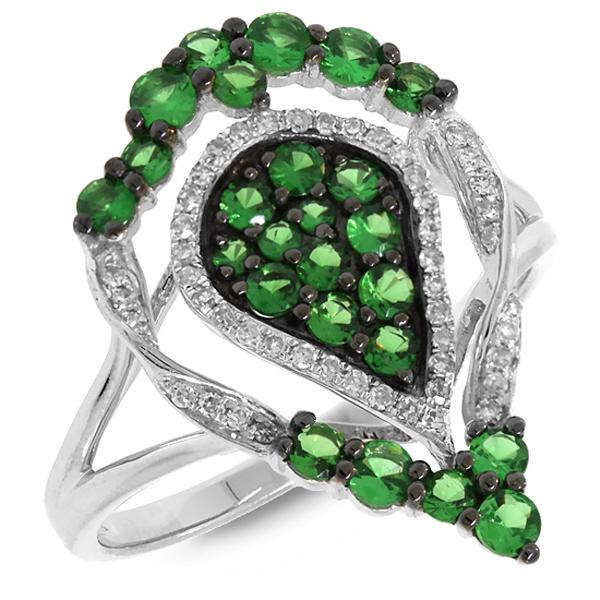 0.16ct Diamond & 0.85ct Green Garnet 14k White Gold Ring