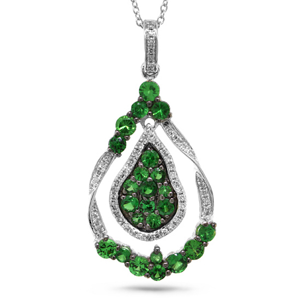 0.14ct Diamond & 1.09ct Green Garnet 14k White Gold Pendant Necklace