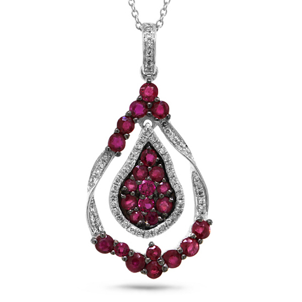 0.14ct Diamond & 1.27ct Ruby 14k White Gold Pendant Necklace