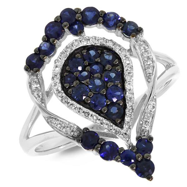 0.16ct Diamond & 0.94ct Blue Sapphire 14k White Gold Ring