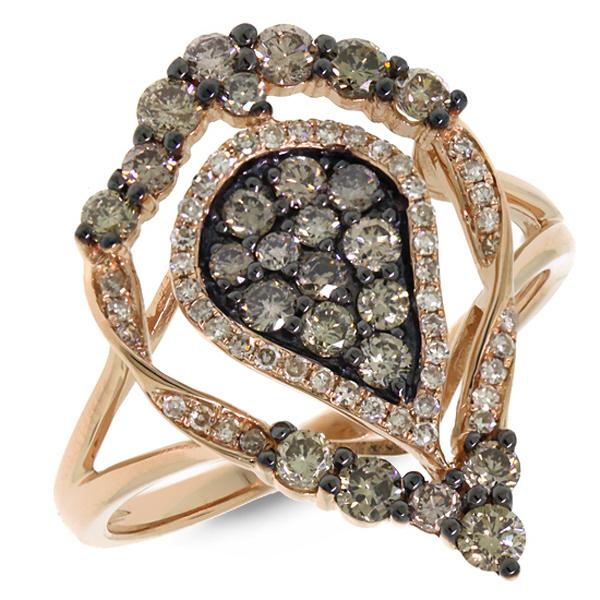 0.93ct 14k Rose Gold White & Champagne Diamond Ring