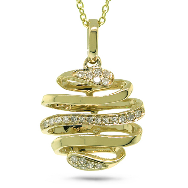 0.08ct 14k Yellow Gold Diamond Pendant Necklace