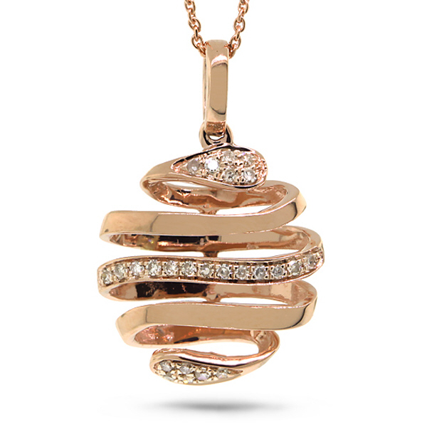 0.08ct 14k Rose Gold Diamond Pendant Necklace