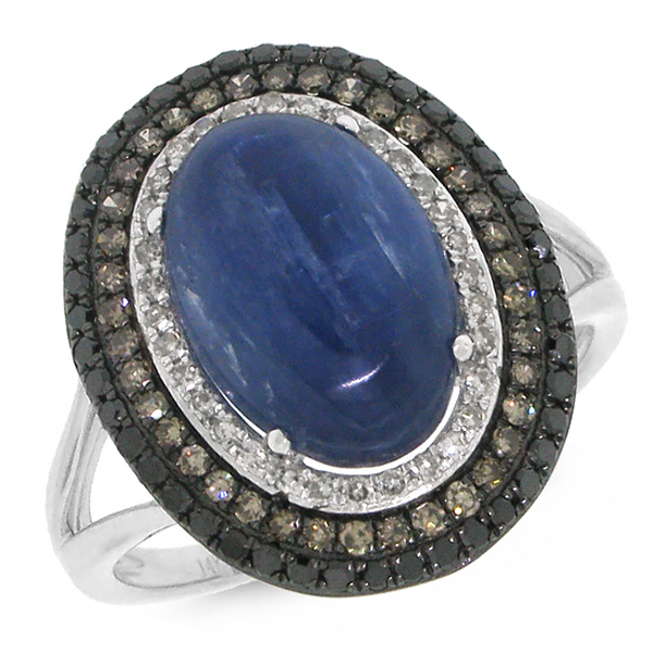 0.60ct White, Champagne & Black Diamond & 4.92ct Kyanite 14k White Gold Ring