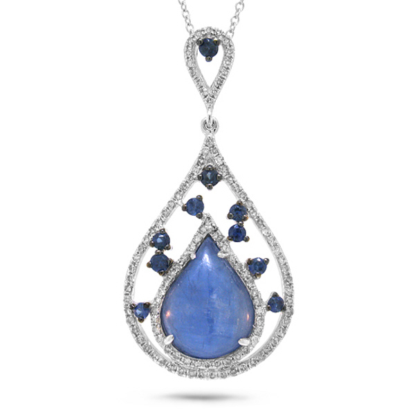 0.34ct Diamond & 3.62ct Blue Sapphire & Kyanite 14k White Gold Pendant Necklace