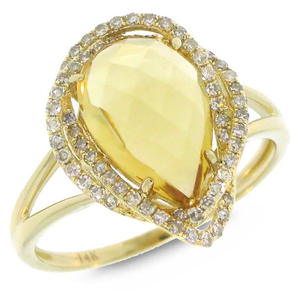 0.26ct Diamond & 2.97ct Citrine 14k Yellow Gold Ring