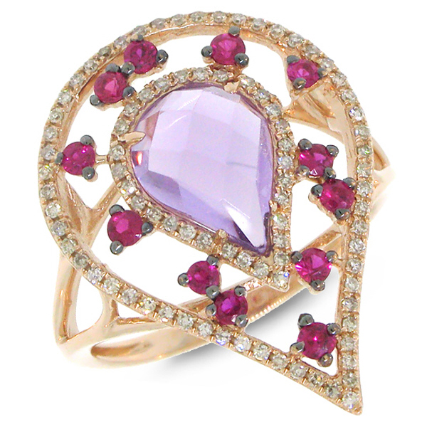 0.22ct Diamond & 1.98ct Amethyst & Pink Sapphire 14k Rose Gold Ring