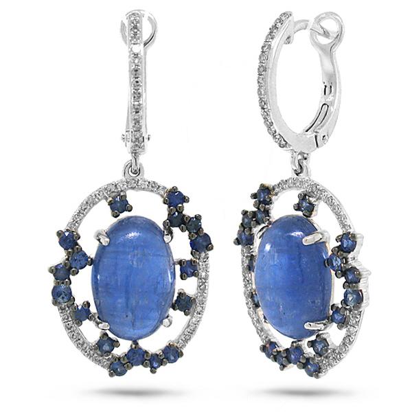 0.27ct Diamond & 8.83ct Kyanite & Blue Sapphire 14k White Gold Earrings