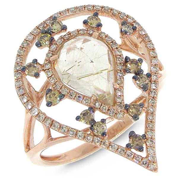 0.47ct White & Champagne Diamond & 1.55ct Golden Line Quartz 14k Rose Gold Ring