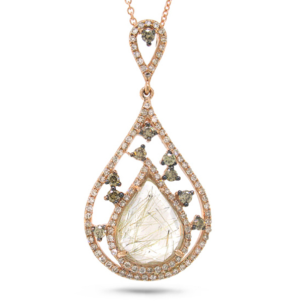 0.44ct White & Champagne Diamond & 2.42ct Golden Line Quartz 14k Rose Gold Pendant Necklace