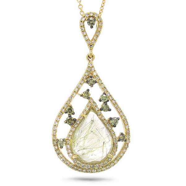 0.55ct White & Champagne Diamond & 2.42ct Golden Line Quartz 14k Yellow Gold Pendant Necklace
