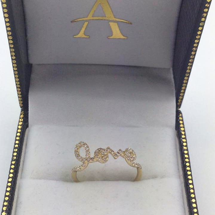 0.28ct 14k Yellow Gold Diamond ''Love'' Ring