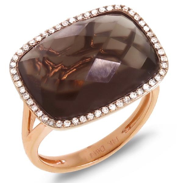 0.17ct Diamond & 8.32ct SmokeyTopaz 14k Rose Gold Ring