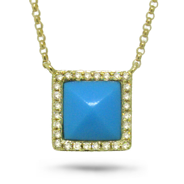 0.09ct Diamond & 0.73ct Composite Turquoise 14k Yellow Gold Necklace