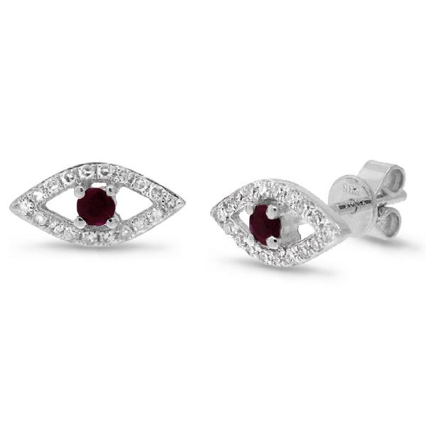 0.17ct Diamond & 0.15ct Ruby 14k White Gold Eye Earrings