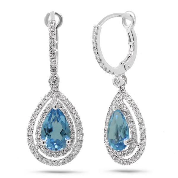 0.76ct Diamond & 3.23ct Blue Topaz 14k White Gold Earrings