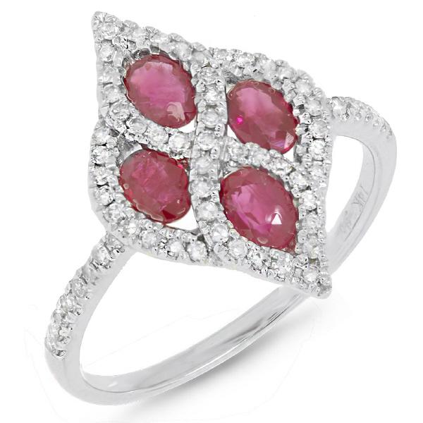 0.24ct Diamond & 0.97ct Ruby 14k White Gold Ring