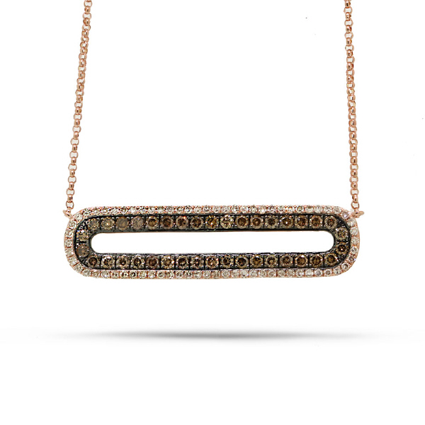 0.70ct 14k Rose Gold White & Champagne Diamond Bar Necklace