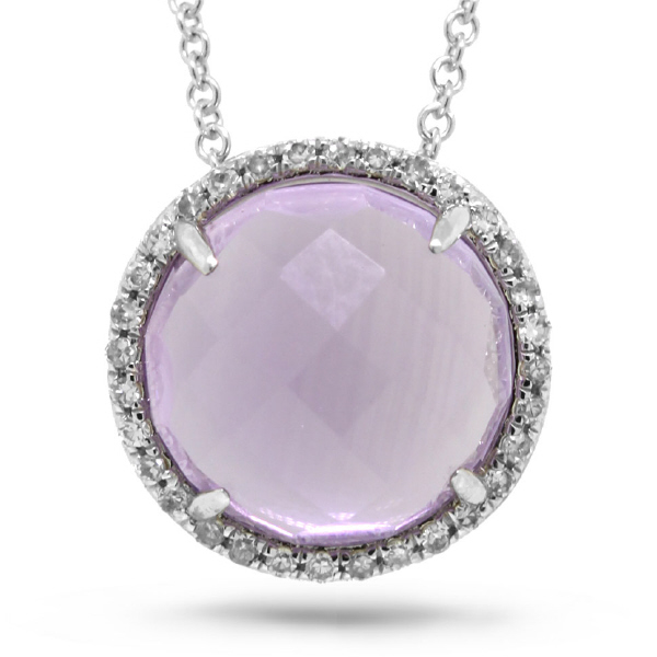 0.10ct Diamond & 3.48ct Amethyst 14k White Gold Pendant Necklace