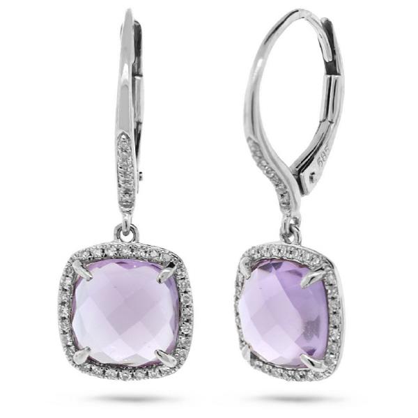 0.21ct Diamond & 4.00ct Amethyst 14k White Gold Earrings