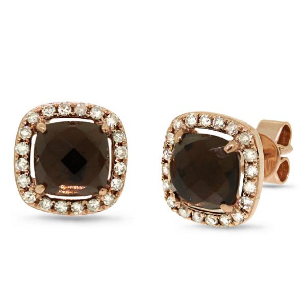 0.21ct Diamond & 1.71ct Smokey Topaz 14k Rose Gold Earrings