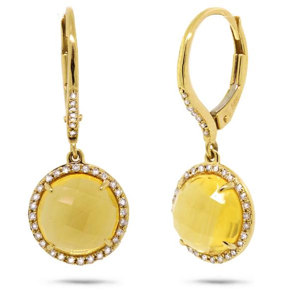 0.21ct Diamond & 4.75ct Citrine 14k Yellow Gold Earrings