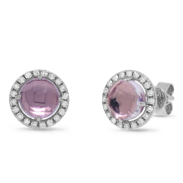 0.21ct Diamond & 1.55ct Amethyst 14k White Gold Earrings