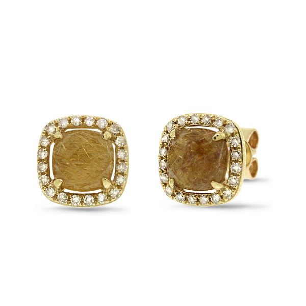 0.21ct Diamond & 1.86ct Golden Line Quartz 14k Yellow Gold Earrings