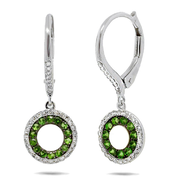 0.21ct Diamond & 0.35ct Green Garnet 14k White Gold Earrings