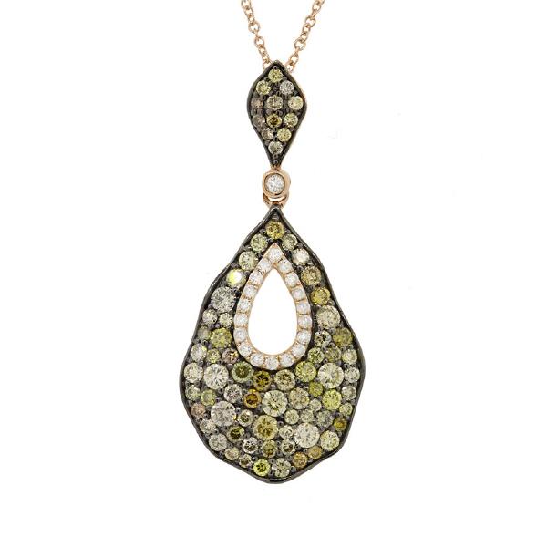 1.64ct 14k Rose Gold White & Multi-color Diamond Pendant Necklace