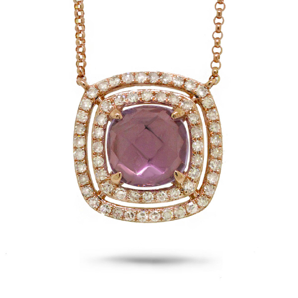 0.31ct Diamond & 1.30ct Amethyst 14k Rose Gold Necklace