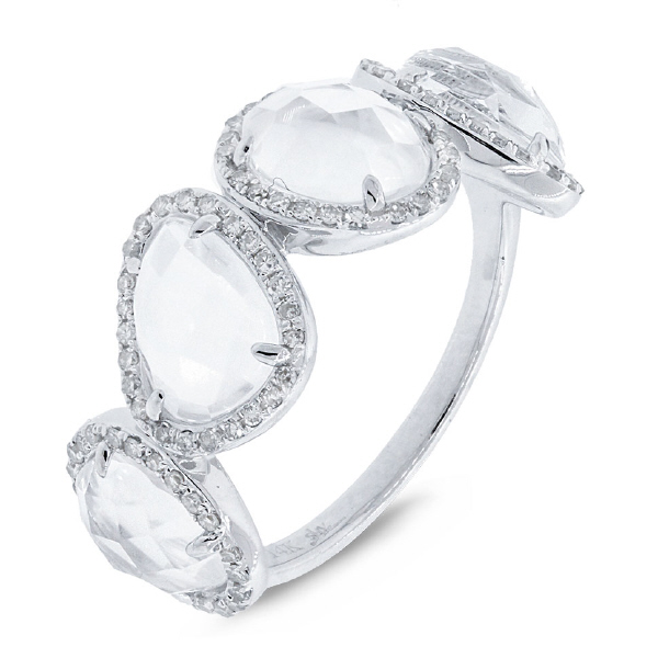 0.27ct Diamond & 3.58ct White Topaz 14k White Gold Ring