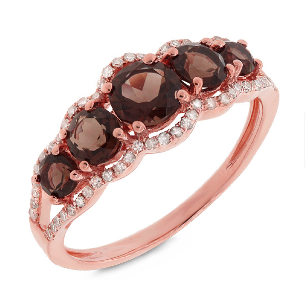 0.17ct Diamond & 1.11ct Smokey Topaz 14k Rose Gold Ring