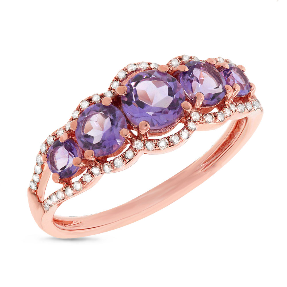 0.17ct Diamond & 1.12ct Amethyst 14k Rose Gold Ring
