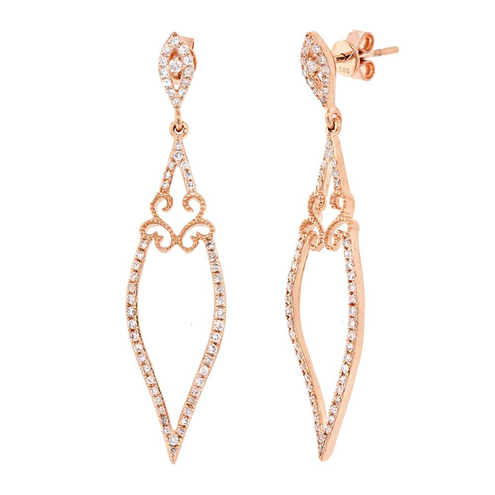 0.44ct 14k Rose Gold Diamond Earrings