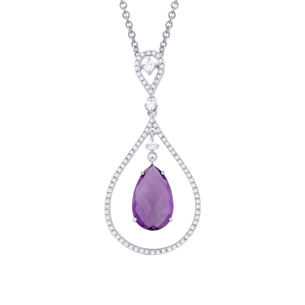 0.35ct Diamond & 3.17ct Amethyst 14k White Gold Pendant Necklace