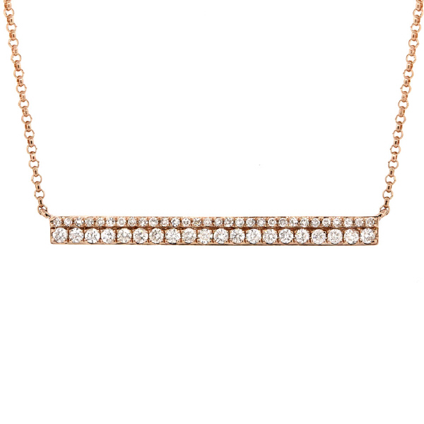 0.34ct 14k Yellow Gold Diamond Bar Necklace
