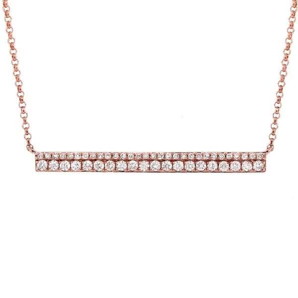 0.34ct 14k Rose Gold Diamond Bar Necklace
