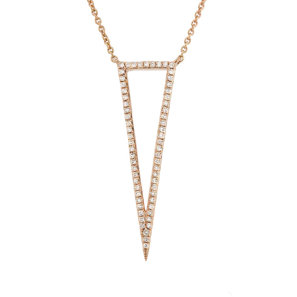 0.20ct 14k Yellow Gold Diamond Triangle Necklace