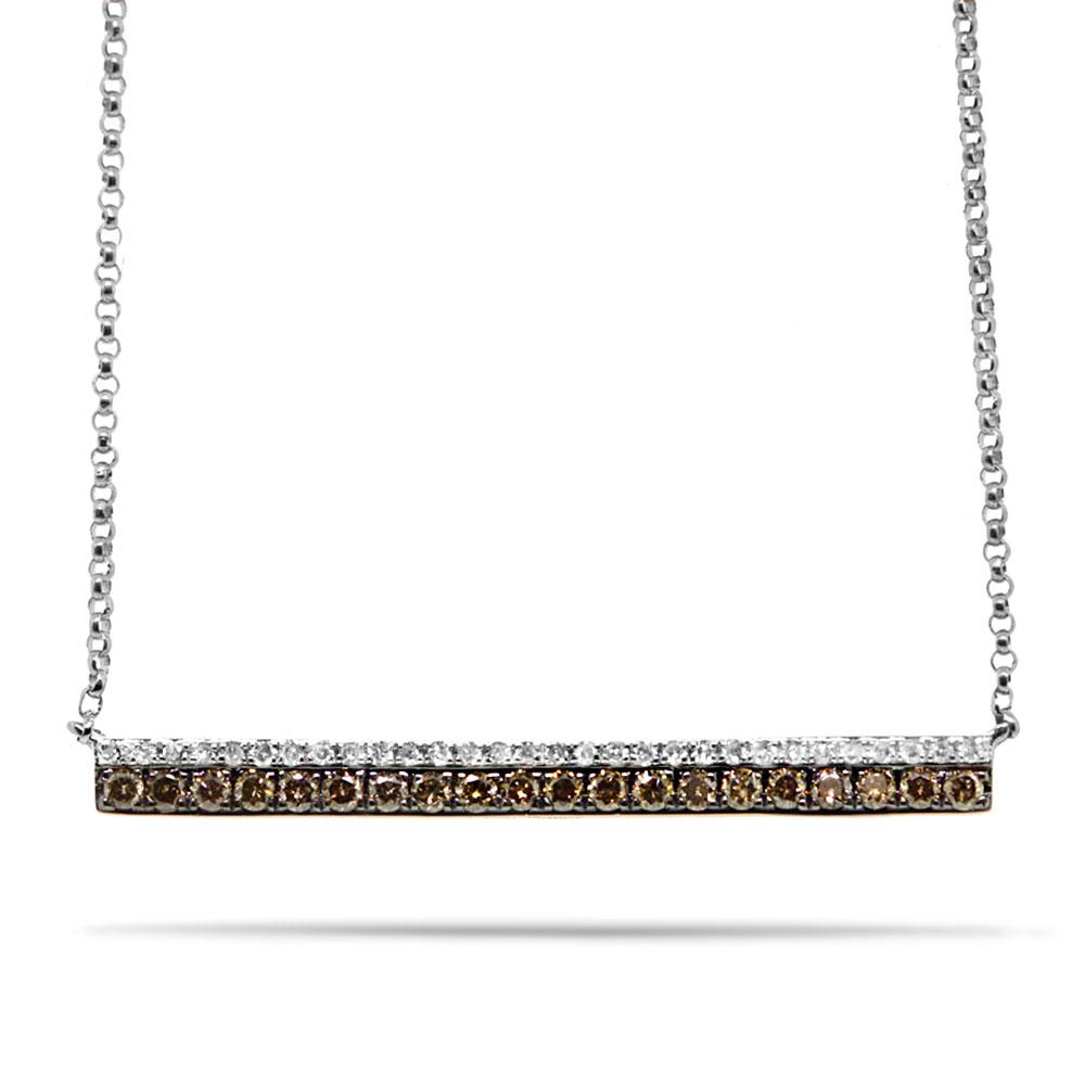 0.35ct 14k White Gold White & Champagne Diamond Bar Necklace