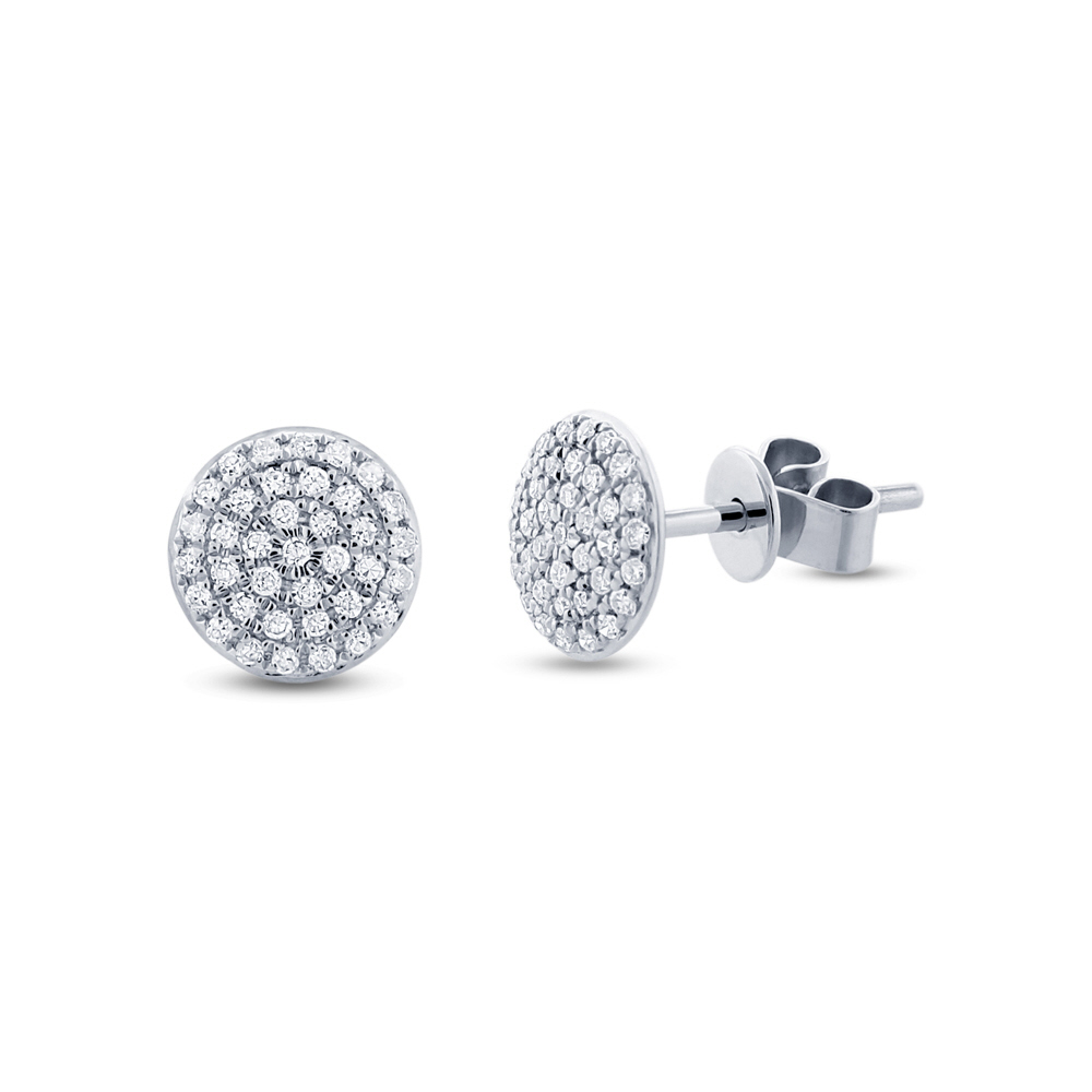 0.21ct 14k White Gold Diamond Pave Stud Earrings