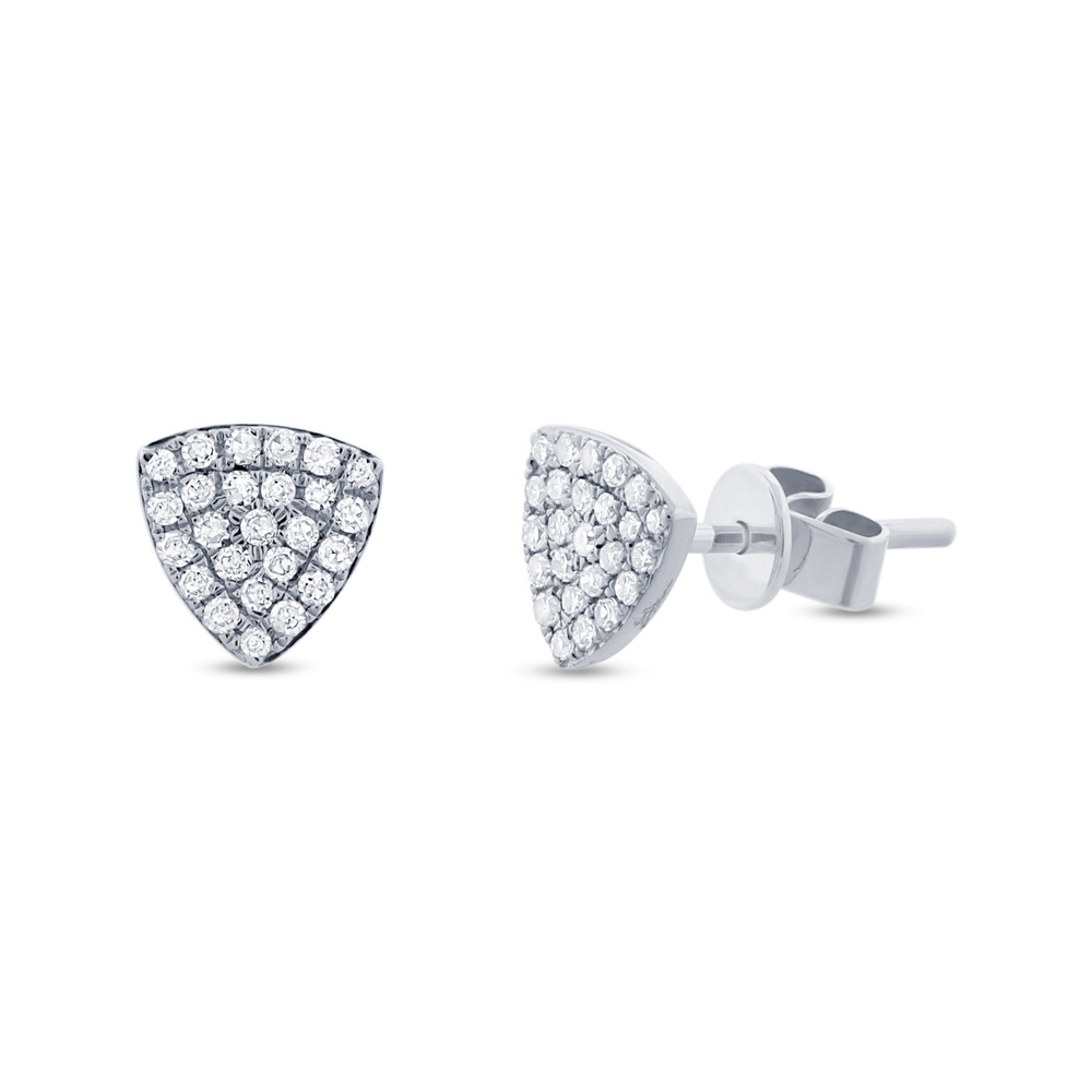 0.18ct 14k White Gold Diamond Pave Stud Earrings