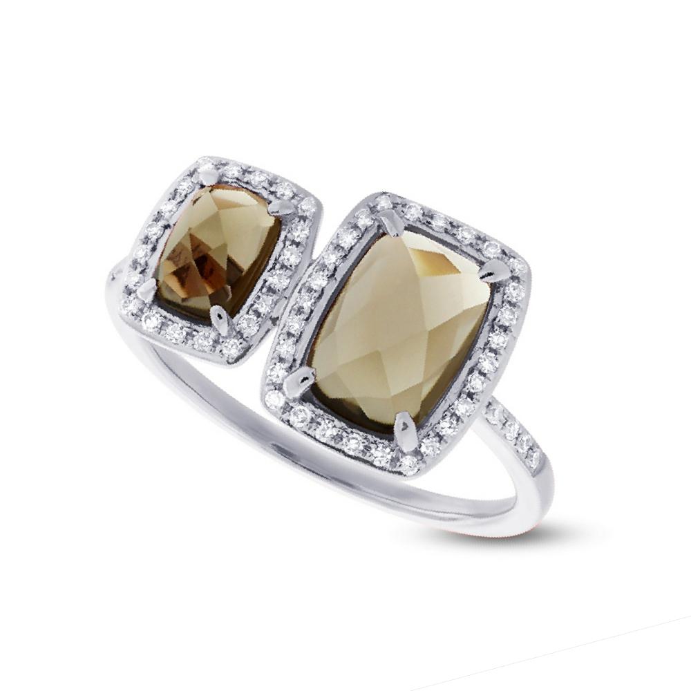 0.22ct Diamond & 2.09ct Smokey Topaz 14k White Gold Ring