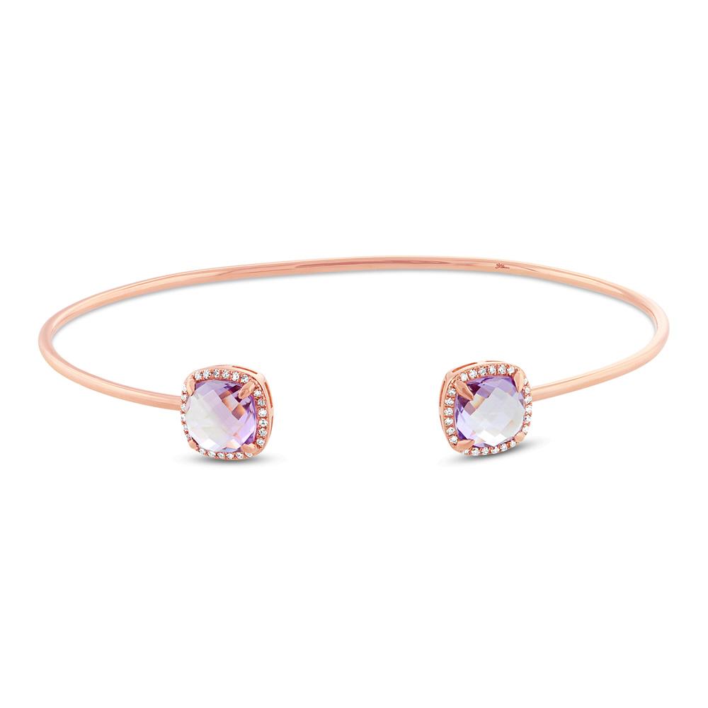 0.14ct Diamond & 3.36ct Amethyst 14k Rose Gold Bangle